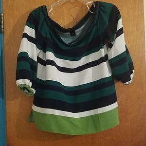 Green and white blouse